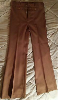 Vintage 1970s ANGEL'S FLIGHT Beige Gabardine Bellbottom Disco Pants 29x32