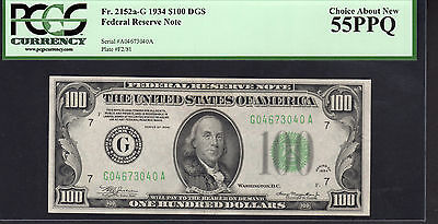 1934 $100 Dollars CHICAGO Federal Reserve Note FR 2152a-G Dark Seal - PCGS 55PPQ