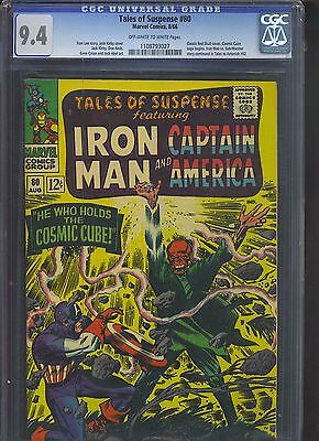 TALES OF SUSPENSE #80 CGC NM 9.4; OW-W; classic Kirby Cosmic Cube Red Skull cvr!