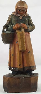 Antique Italy Anri Hand Carved Painted Wood Miniature Lady With Basket Figure