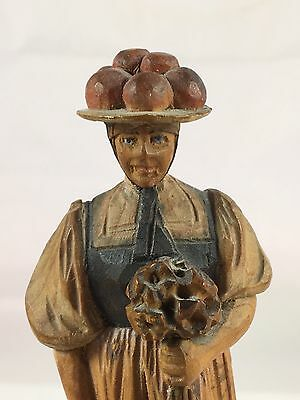 Antique Anri Hand Carved Wood Painted Lady With Bouquet Of Flowers Unusual Hat
