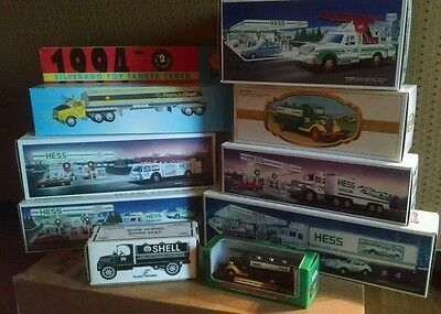 LOT Collectible 9 Vintage Toy Hess & Shell Trucks