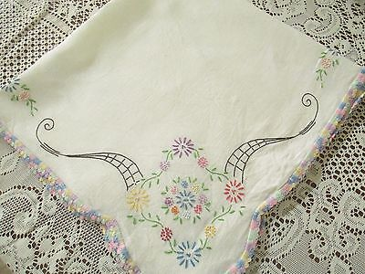 "Hand Embroidered Vintage Floral Tablecloth 33 & 1/2"" by 32 & 1/2"""