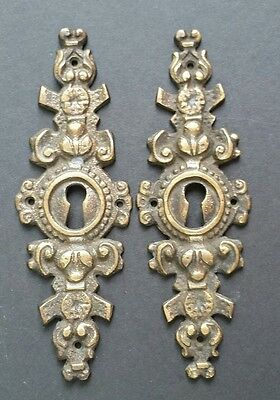 """2 Antique French Escutcheon Key Hole Covers Ornate  4"""" Solid Brass #Z29"""