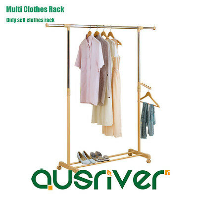 Stainless Steel Multi Clothes Rack Rail Garment Hanger Stand Adjustable Height