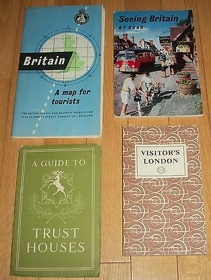 VTG 1950s Travel Guides Britain UK Trust Houses Seeing By Road London Maps Book