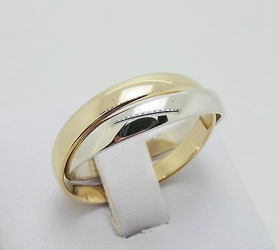 9Ct Yellow & White Gold Russian Wedding Ring - Ring Size 3.46 Grams