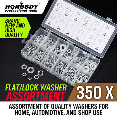 350 PC Lock Flat Split Spring Washers Assortment Steel Washer Set 12 Sizes