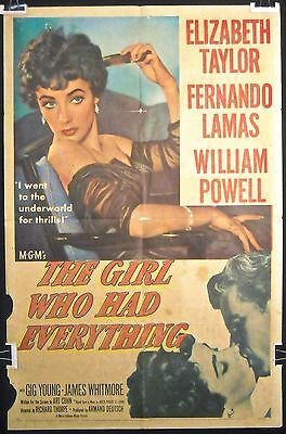 The Girl Who Had Everything (1953) – Orig 1SH Movie Poster **Elizabeth Taylor**