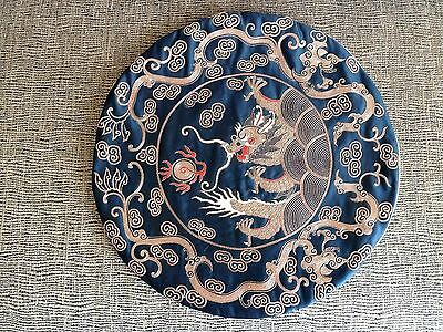 Vtg Chinese silk cushion cover pillow gold thread embroidery 5 claw dragon