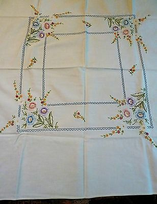 "Vintage hand embroidered and hemmed tablecloth 36 1/2"" x 32"""