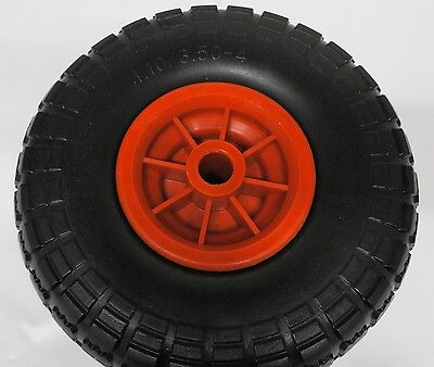 """10"""" Trolley Wheel SOLID Puncture Proof 20mm  Centre Plastic Rim 4.10 / 3.50-4"""