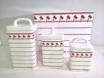 In-N-Out Burger Palm Tree 3 Piece Kitchen Ceramic Canisters Set NIB