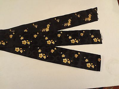 """Antique vintage black yellow gold embroidered ribbon trim 3 """" wide 2.25 Yards Lg"""