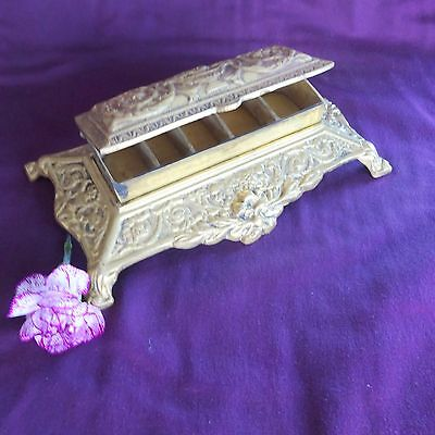 Vintage Rings Stamp Box Brass French Art Nouveau Antique Jewelry Trinket