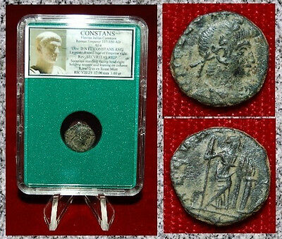 Ancient Roman Empire Coin Of CONSTANS Securitas Standing Holding Sceptre