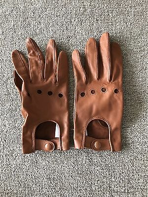 Country Road, Leather Biker Gloves, Tan, Size Small, Brand New!