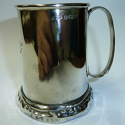 Vintage Solid Silver Tankard- 82mm - Hallmarked London 1920 - 92g