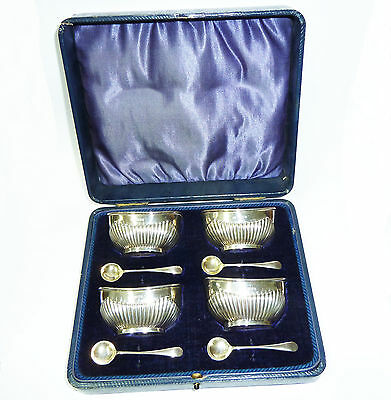 Antique Set of Four Solid Silver Hallmarked Salts & Spoons in Original Case 1909