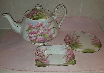 Vintage Royal Albert Blossom Time Large Tea Pot Teapot, Trivet & Sweet Meat Dish