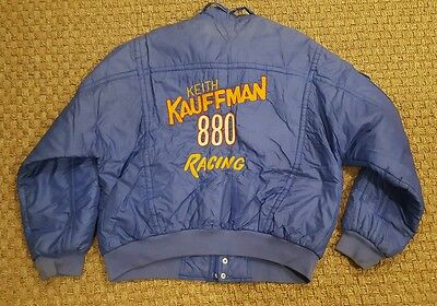 vtg KEITH KAUFFMAN 880 RACING mens/womens full zip embroidered puffer jacket XL