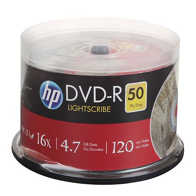 HP LIGHTSCRBE printable blank recordable DVD-R 16x blank disc disk 4.7GB LOT