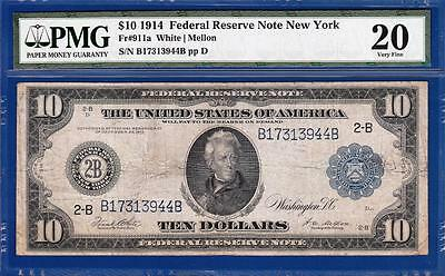 1914 $10 New York Federal Reserve Note Fr. 911a - PMG Very Fine VF 20 - C2C