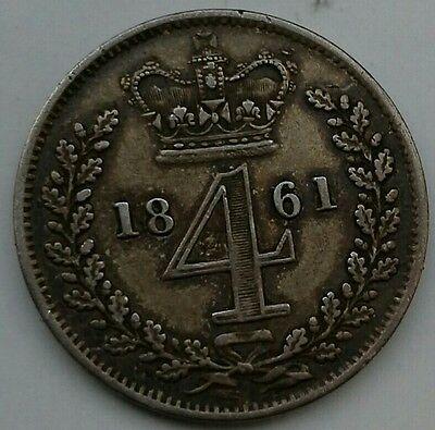 SCARCE 1861 QUEEN VICTORIA MAUNDY SILVER  FOURPENCE (Ref:130)
