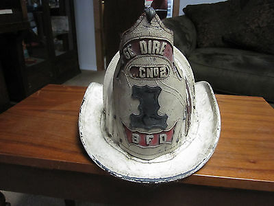 Antique Leather Fire Helmet w Eagle & Shield BFD Hose Director HCNo2