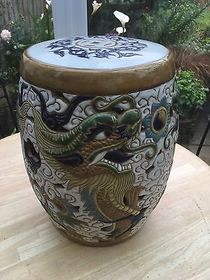 Vintage Ceramic Vietnamese Garden seat Dragon and Pearl