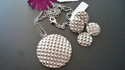 Stunning Solid 925 Sterling Silver Set Necklace&earrings Made In Italy Exclusive