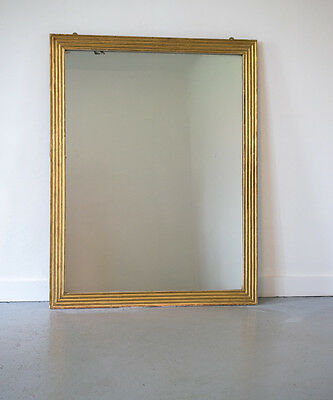 Large 19th century French Gilt Reeded Bistro Mirror Antique