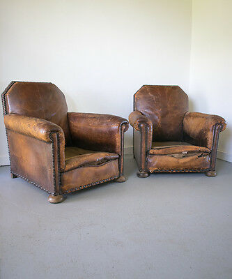 Pair Antique French Leather Ball feet Art Deco Club Chairs Vintage