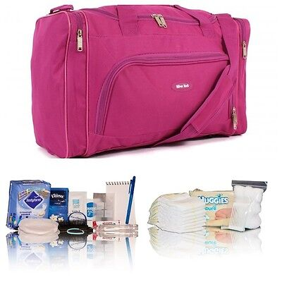 Hot pink pre-packed hospital/maternity/bag/holdall Mum to be baby shower gift