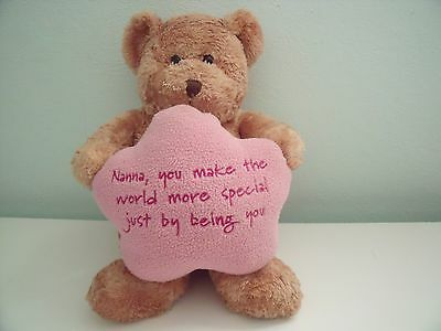 Birthdays Brown Teddy Bear With Pink Nanna Cushion Approx 9.5 Inches Seated