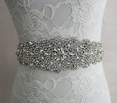 Crystal Bridal Sash Wedding Dress Vintage Rhinestone Beads Satin Dress Belt