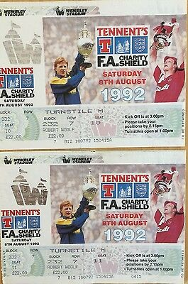 Pair of 1992 FA Charity Shield Final Tickets, Unused, Nearly Mint Condition!