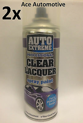 2x Automotive Clear Lacquer Spray Paint Aerosol Can Auto Extreme 400ml