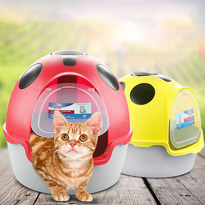Cat Toilet Litter Tray Box Portable Scoop Totally Enclosed Hooded Top Flap Door