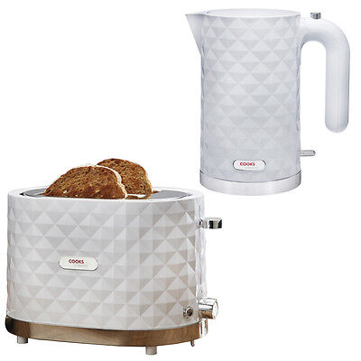 Cooks Professional White Diamond 1.5L Cordless Kettle & 2 Slice Wide Toaster Set