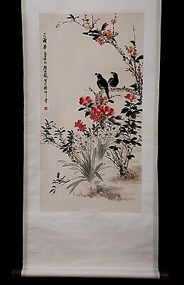 Rare Chinese Handwork Old Flower and bird Scroll Painting Marks YanBoLong KK315