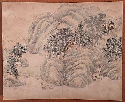 Rare Old Chinese Hand Painting Landscape Book Marks ShangRui KK472