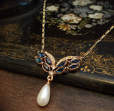 Vintage Montana Blue Crystal with Pearl Drop Pendant Necklace with Gold Chain