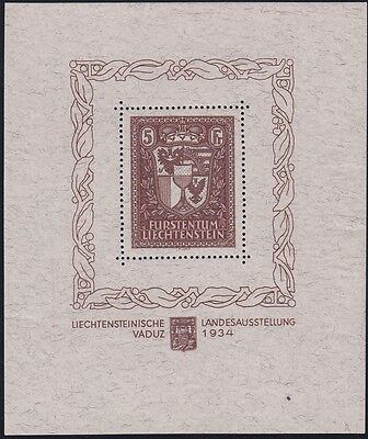 LIECHTENSTEIN, 1934 Briefmarkenausstellung Block 1 **, Attest, (18906)