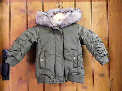 BABY GIRLS NEXT GREEN PADDED BOMBER JACKET HOOD FAUX FUR NEXT AGE 9-12 months