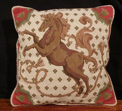 Vintage HORSE RAMPANT Heraldic TAPESTRY PILLOW French Royalty WOOL gold braid