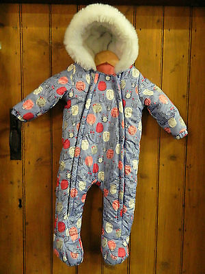 Pretty Girls Snowsuit Lilac Print Hooded Padded Lined Faux Fur Age 9-12 Months