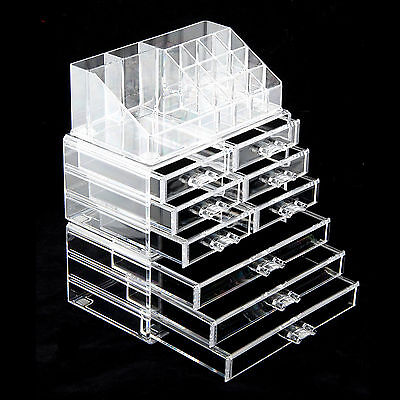 Cosmetic Organizer Clear Acrylic Make-Up Drawers Holder Case Box Jewelry Storage