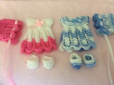 2 sets hand knitted dolls clothes to fit 7-8 inch doll.