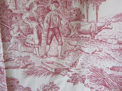 A Really Beautiful Vintage French  Toile De Jouy Unlined  Curtain +Tieback